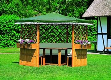 Pavillon MARBURG Gartenlaube ohne Möbel Holzpavillon 309 x 309 x 211 cm -